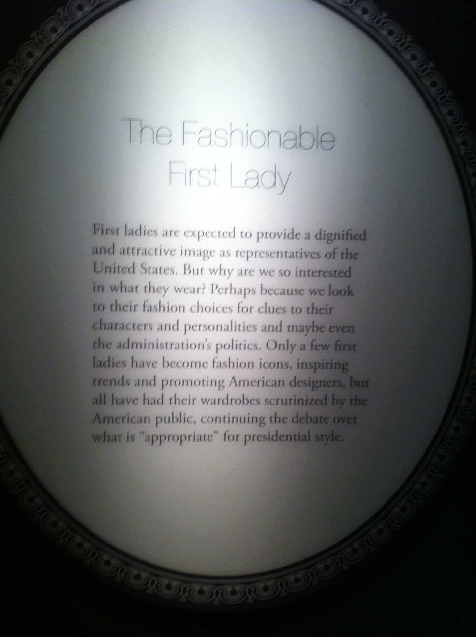 Museum of American History - First lady dresses plaque